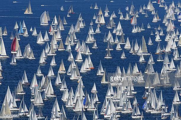 Large number of sailing boats at Barcolana