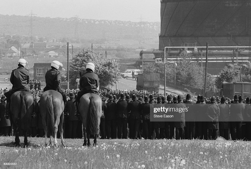 Large numbers of police are deployed at Orgreave Colliery, South Yorkshire, during a picket by striking miners, 30th May 1984.