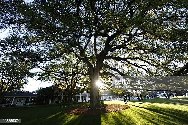 A large oak tree in front of the clubhouse before the start of a practice round prior to the 2011 Masters golf tournament at Augusta National Golf...
