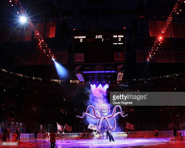 A large Octopus drops from the scoreboard before Game Two of the 2009 Stanley Cup Finals at Joe Louis Arena between the Pittsburgh Penguins and the...