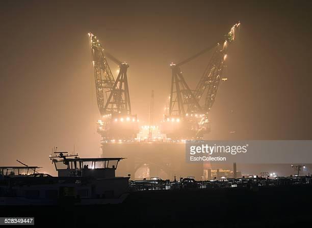 Large offshore crane vessel at Port of Rotterdam