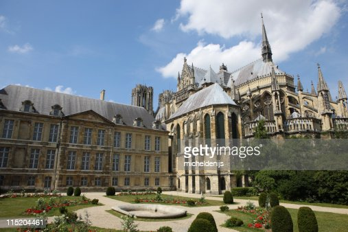 Large old cathedral at Reims, France