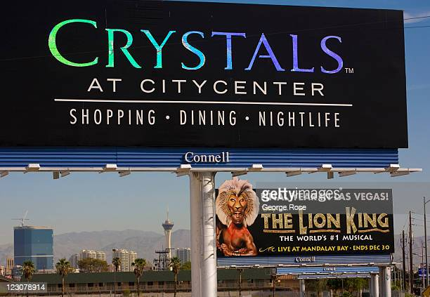A large outdoor billboard near McCarran International Airport promotes the Crystals shopping center as viewed on August 12 in Las Vegas Nevada With...