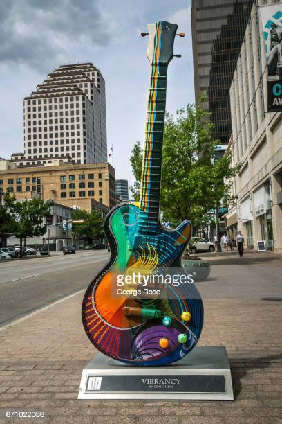Large oversized guitars dot the downtown area April 14 in Austin Texas Austin the State Capital of Texas the state's second largest city and home to...