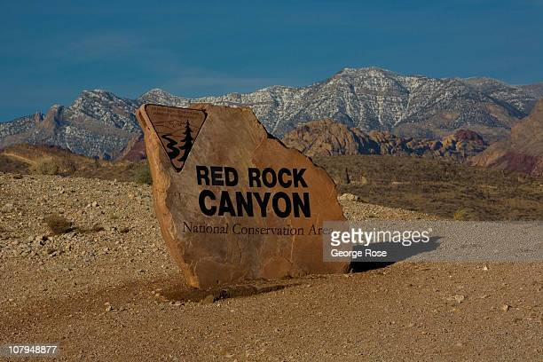 A large painted boulder greets visitors to the Red Rock Canyon National Conservation Area on December 26 2010 near Summerlin Nevada Red Rock Canyon...