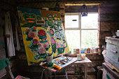 Large painting in art studio