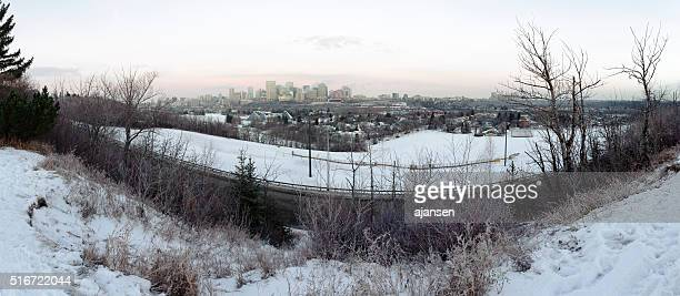 large panorama photo of downtown edmonton, alberta, canada at sunrise