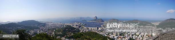 A large panoramic view of the city Sugarloaf Mountain Atlantic Ocean Guanabara Bay and Copacabana beach shot from the Mirante Dona Marta in Parque...