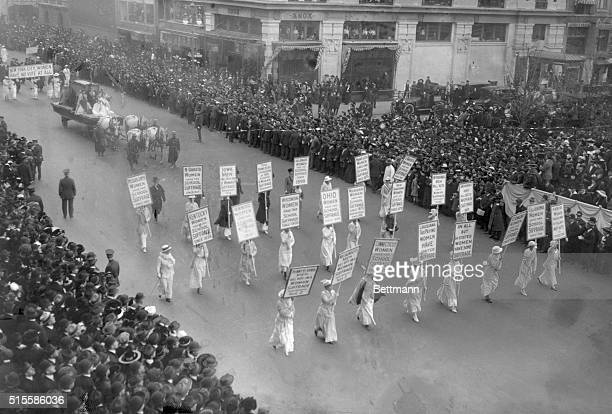 A large parade in support for women's suffrage in Manhattan in 1913