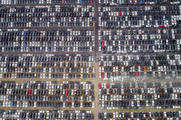 Large parking lot - aerial view
