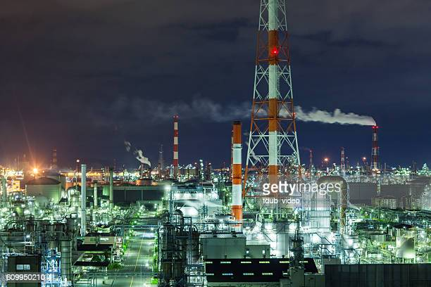 Large petroleum refinery at night