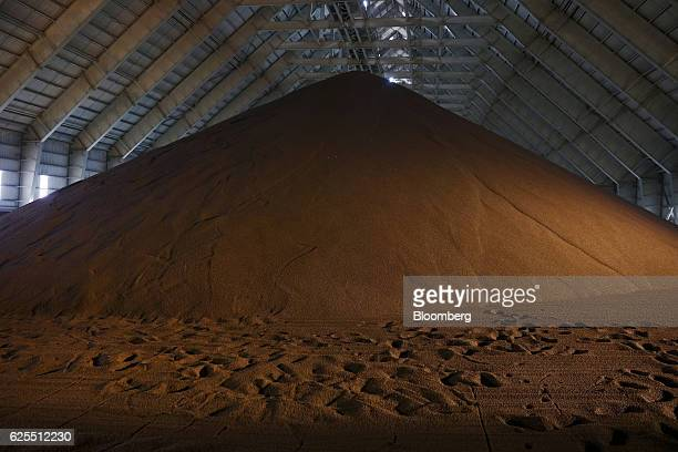 A large pile of processed diammonium phosphate sits in storage at the processing plant at the Ras Al Khair Industrial City operated by the Saudi...