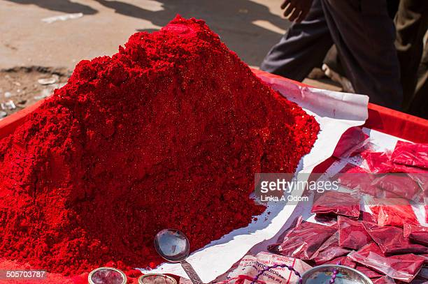 A large pile of red Tikka powder used in India