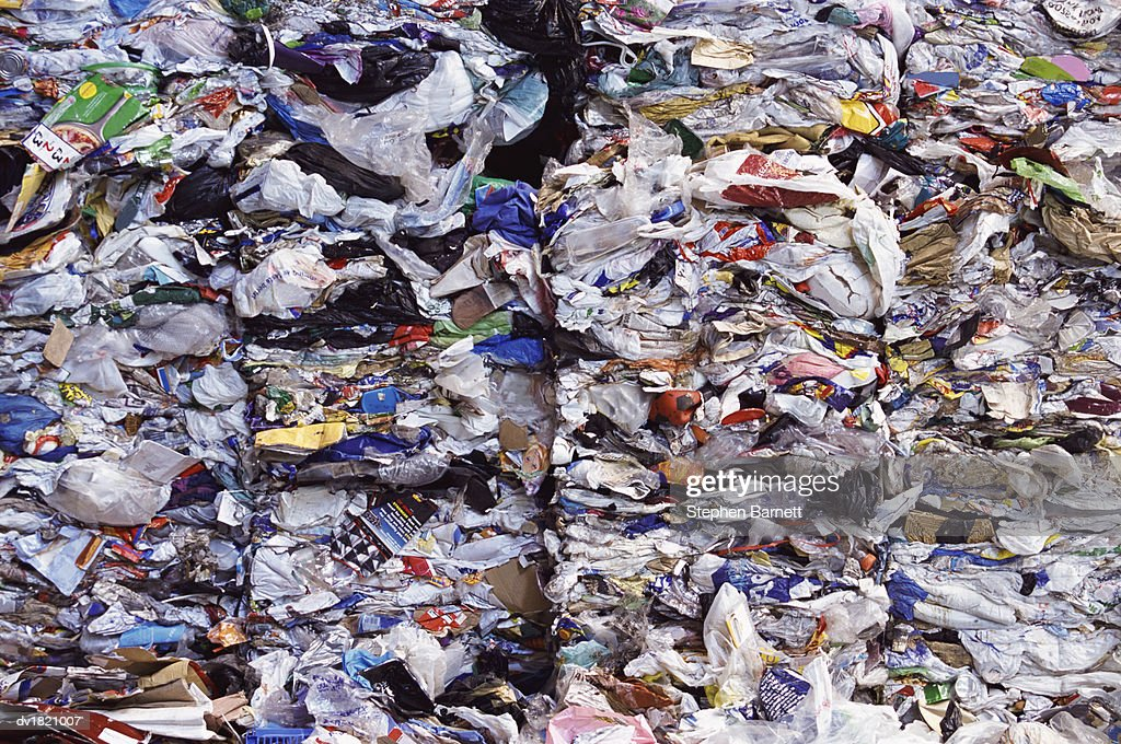 Large Pile of Squashed Plastic Bags For Recycling : Stock Photo