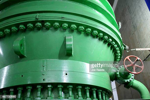 A large pipe is seen inside a hydroelectric plant run by the Costa Rican Electricity Institute as the power company has managed to produce all of the...