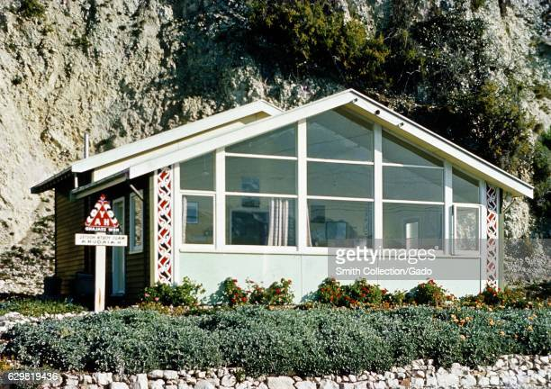Large plateglass windows cover the front of the Maui Youth Hostel in Kaikoura New Zealand 1970