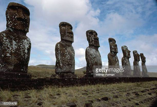 Large platform with seven moai statues Easter Island Ahu Akivi