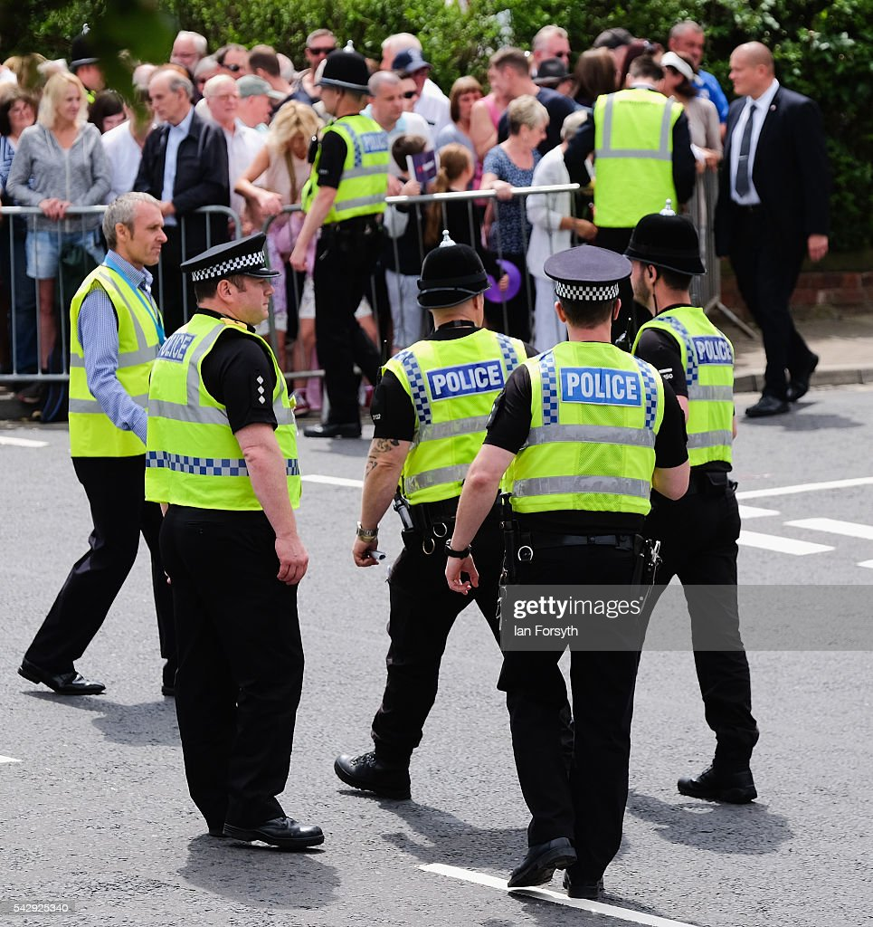 A large police presence secured an area ahead of a visit by HRH The Duke of Kent and Prime Minister David Cameron during the Armed Forces Day National Event on June 25, 2016 in Cleethorpes, England. The visit by the Prime Minister came the day after the country voted to leave the European Union. Armed Forces Day is an annual event that gives an opportunity for the country to show its support for the men and women in the British Armed Forces.