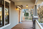 Horizontal Shot of wrap around porch on an upscale home