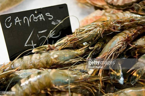 Large prawns on market stall, provence, France