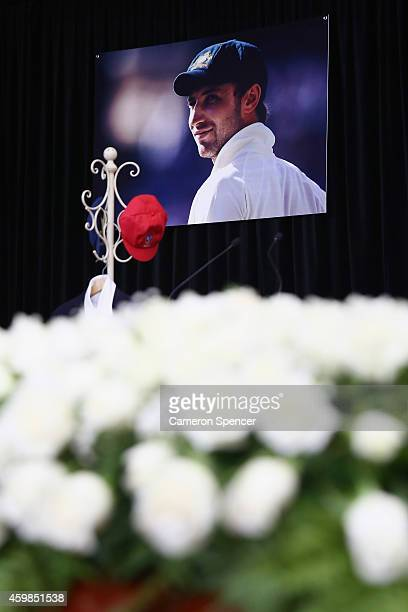 Large prints of Phillip Hughes are seen inside the Macksville High School Stadium ahead of the Funeral Service for Phillip Hughes on December 3 2014...