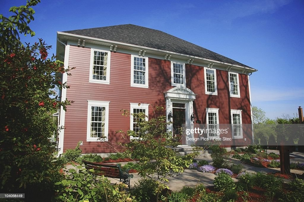 A Large Red Colonial House