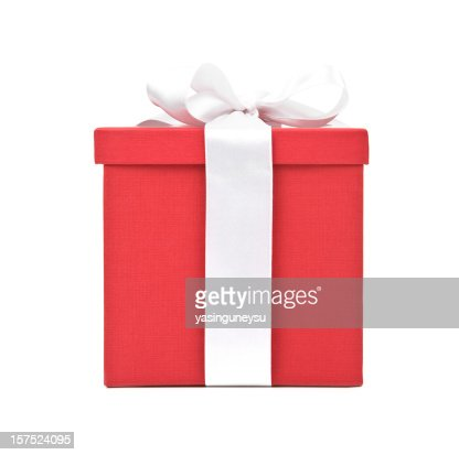 Christmas gift with gold ribbon stock photo getty images keywords negle Images