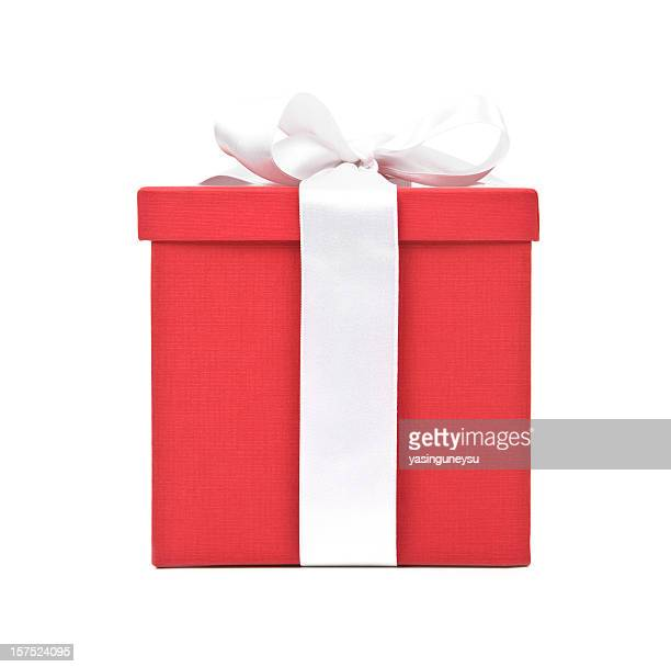 Large red gift box with a white ribbon and bow