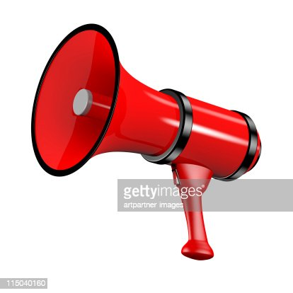 Large Red Megaphone on white