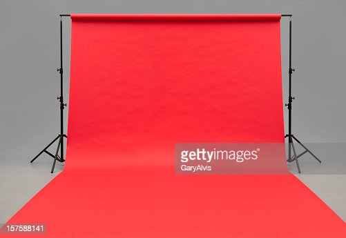 Large red paper rolled onto the floor
