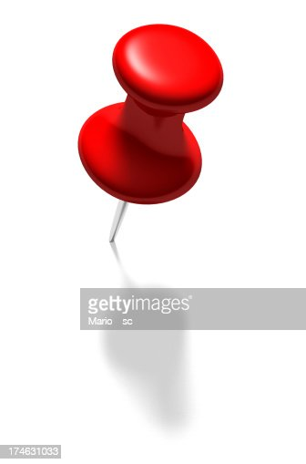 Large red pin on white background