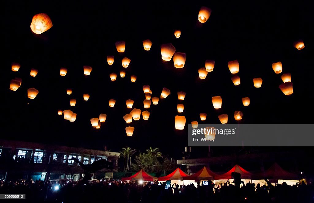 A large release of lanterns fill the sky at the Pingxi Sky Lantern Festival on February 11, 2016 at the Jintong Elementary School in Pingxi District, New Taipei City, Taiwan. The event is the first of three organised lantern releases and falls on the 4th day of the Lunar New Year. The theme for the launch was children and young participants were encouraged to place their fingerprints on their lanterns as a symbolic representation of their wishes.