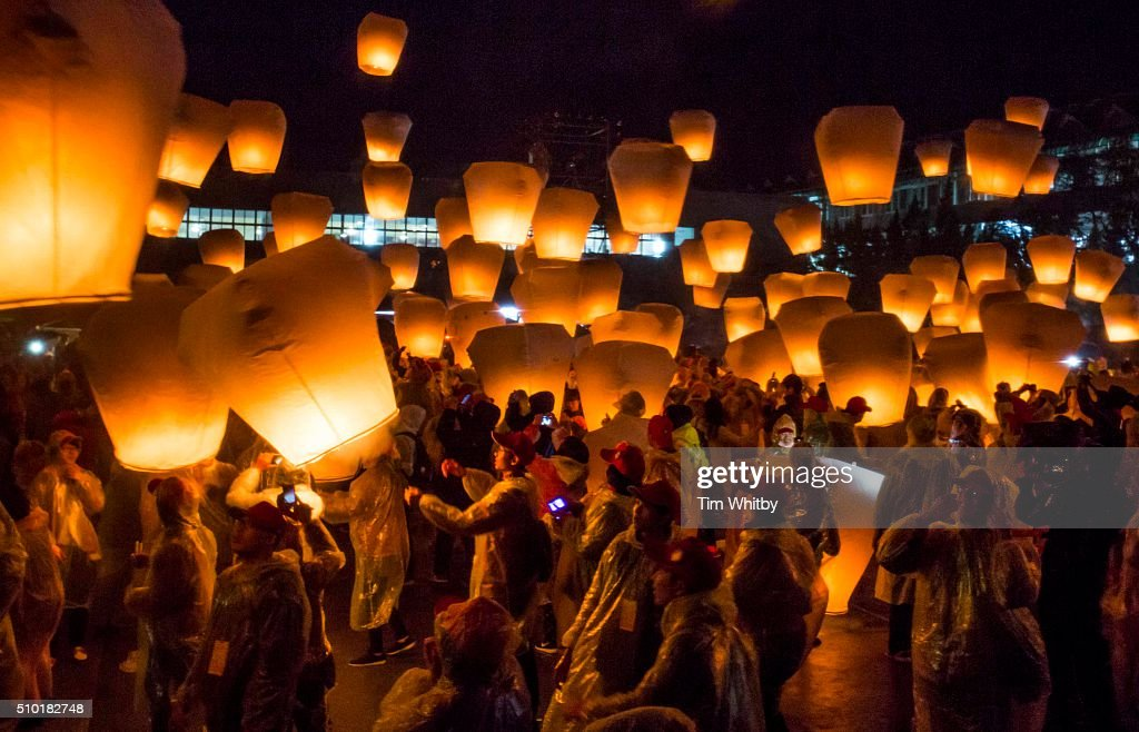 A large release of lanterns fill the sky at the Pingxi Sky Lantern Festival on February 14, 2016 at the Pingxi Junior High School in Pingxi District, New Taipei City, Taiwan. The event is the second of three organised lantern releases and the theme for the launch is 'Two Hearts Together'. Participants were encouraged to 'leave their love in Pingxi' and draw hearts on their lanterns.