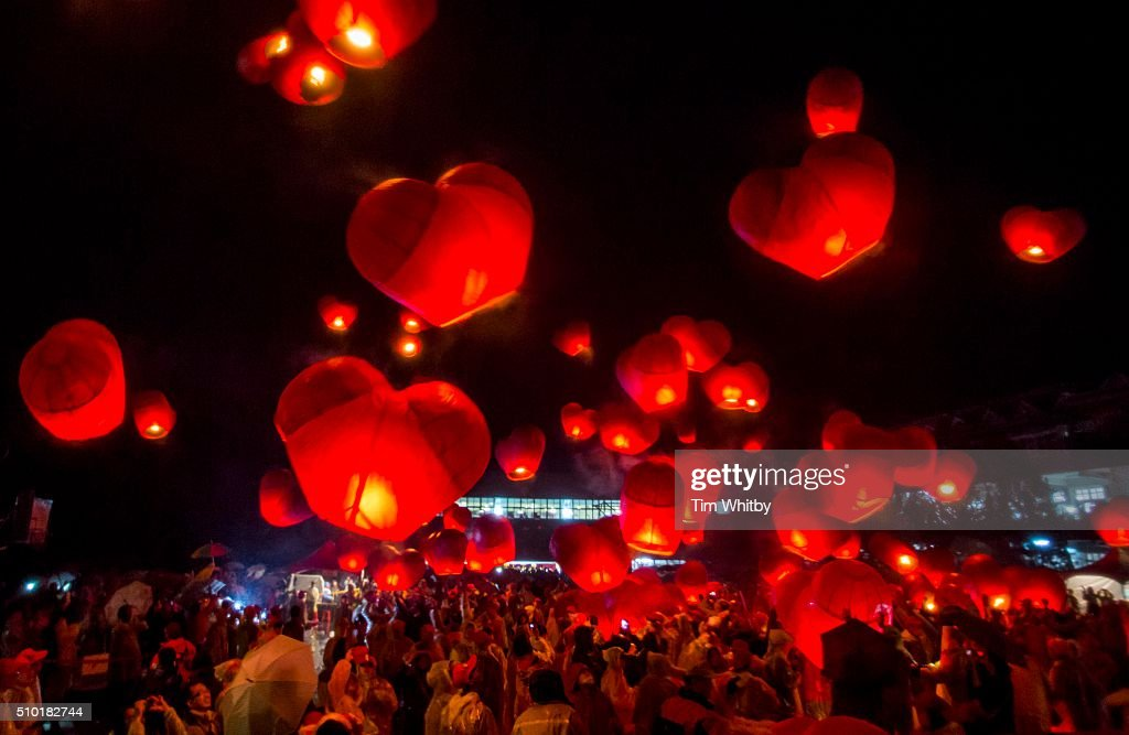 A large release of lanterns shaped as hearts fill the sky at the Pingxi Sky Lantern Festival on February 14, 2016 at the Pingxi Junior High School in Pingxi District, New Taipei City, Taiwan. The event is the second of three organised lantern releases and the theme for the launch is 'Two Hearts Together'. Participants were encouraged to 'leave their love in Pingxi' and draw hearts on their lanterns.