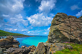 Large rock formations on the Cornish coast, St. Ives, Cornwall, England