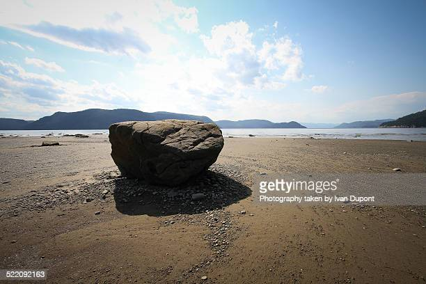 A large rock on the beach