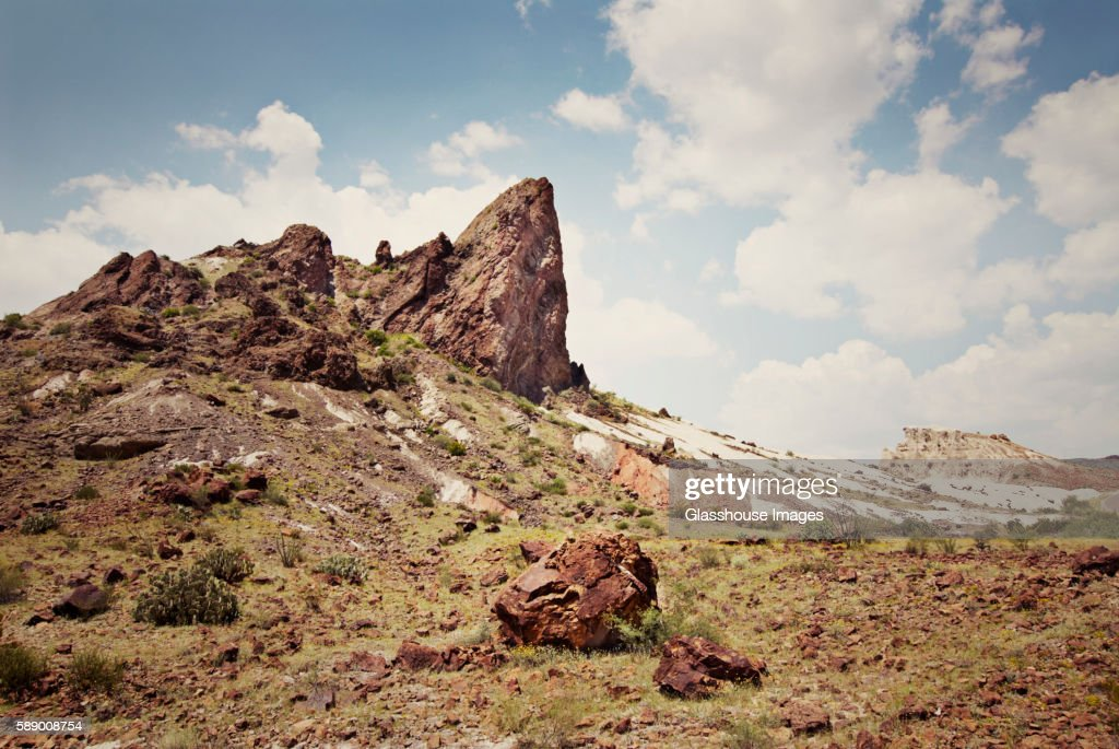 Large Rock Outcrop in Arid Landscape