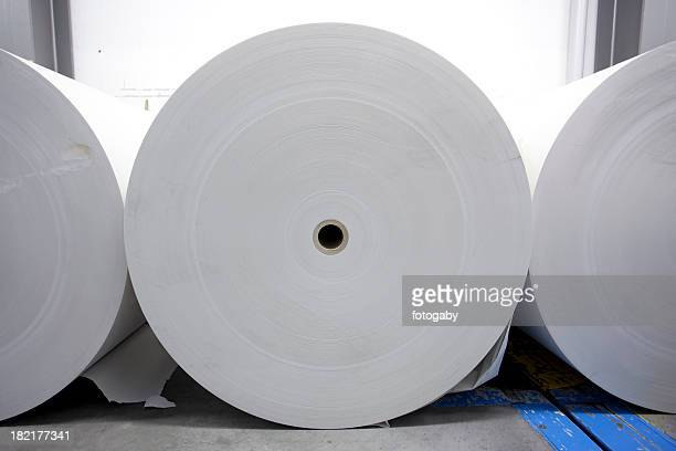 Large rolls of white printing paper for the Press