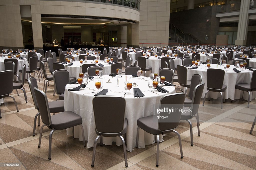 Large Room Set Up For A Banquet, Round Tables : Stock Photo