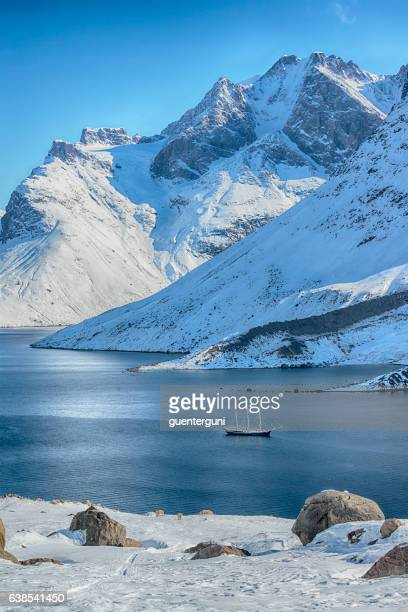 Large sailing ship in a scenic fjord, Western Greenland