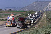 A large Santa Claus being moved from Carpinteria to Nyland Acres in Ventura County creates a backup of traffic as it cruises slowly down the 101...