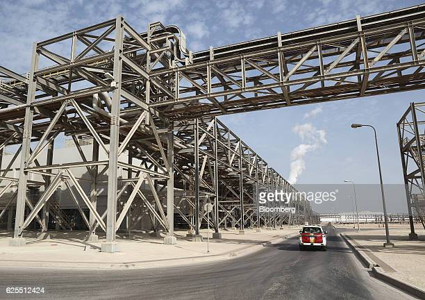 Large scale industrial conveyor systems carry materials to the aluminium plant at the Ras Al Khair Industrial City operated by the Saudi Arabian...