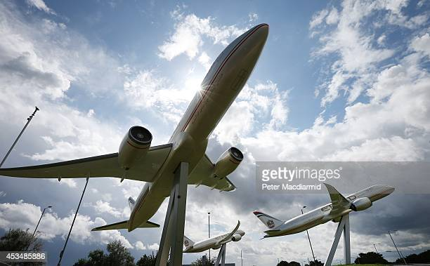 Large scale models of Etihad Boeing 787 Dream Liners are displayed near Terminal Four at Heathrow Airport on August 11 2014 in London England...