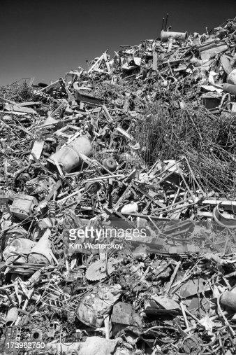 Large scrap metal heap in recycling yard : Stock Photo