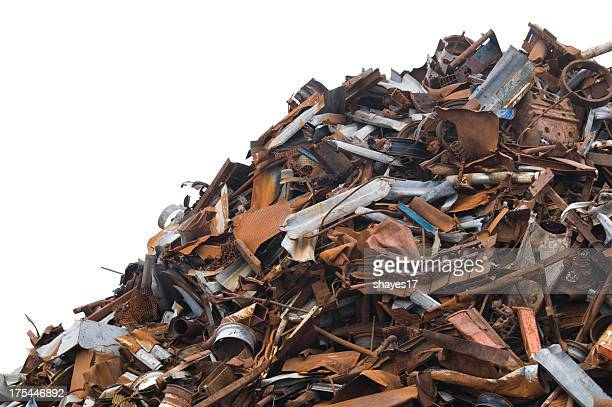 A large scrap metal pile on a white background