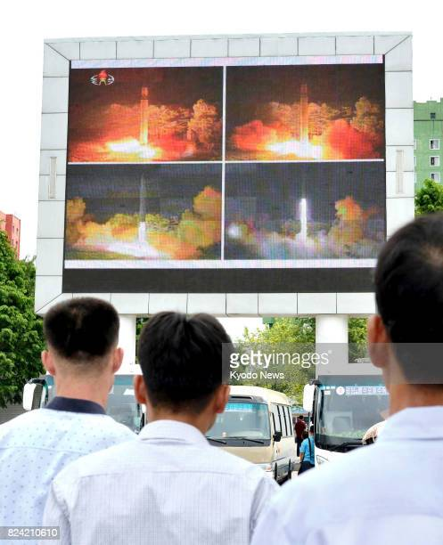 A large screen in Pyongyang shows on July 29 news of the success of North Korea's second launch of an intercontinental ballistic missile North Korea...