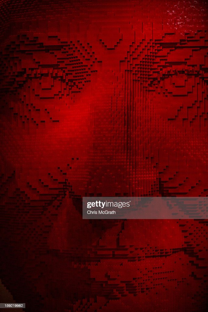 A large sculpture of a face made of Lego is seen during the 'The Art of the Brick' exhibition on January 9, 2013 at the ArtScience Museum in Singapore. The exhibition by renowned New York based brick artist Nathan Sawaya features 52 large-scale LEGO brick sculptures and showcases two of the artists iconic pieces 'Yellow' and 'Swimmer'. It is the first time his work has been exhibited in South East Asia. The exhibit runs from 17 Nov 2012 to 14 April 2013.