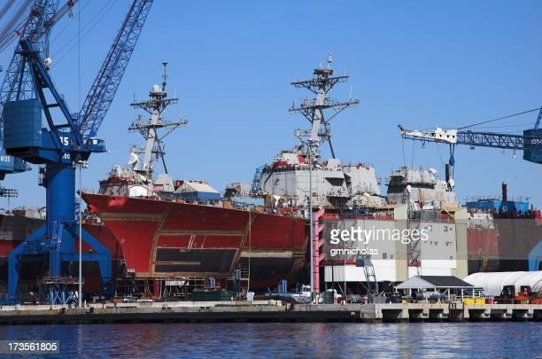 Large ships and cranes at sea port