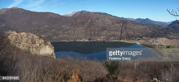 Large Size Panoramic View Of Lake Mergozzo In Winter