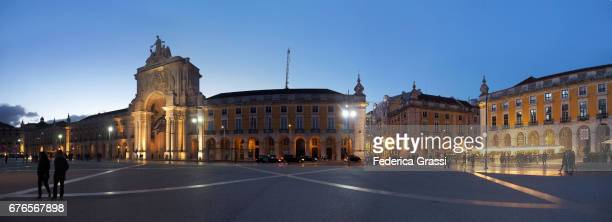 Large Size Panoramic View of Praça do Comercio in the Blue Hour, Lisbon, Portugal